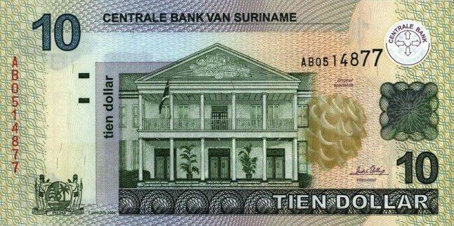 Суринамский доллар. Купюра номиналом в 10 SRD, аверс (лицевая сторона).