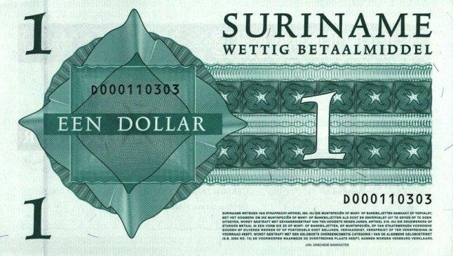 Суринамский доллар. Купюра номиналом в 1 SRD, реверс (обратная сторона).