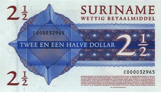 Суринамский доллар. Купюра номиналом в 2.5 SRD, реверс (обратная сторона).