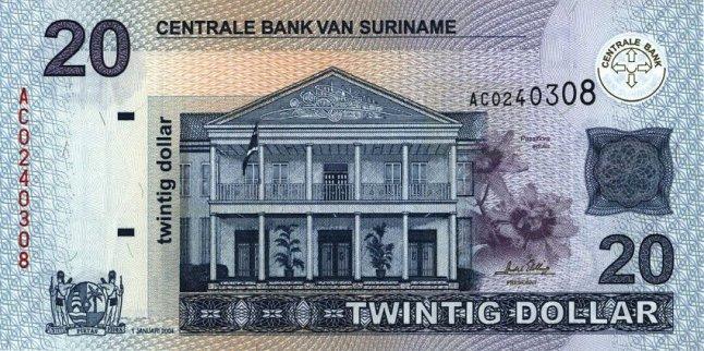 Суринамский доллар. Купюра номиналом в 20 SRD, аверс (лицевая сторона).
