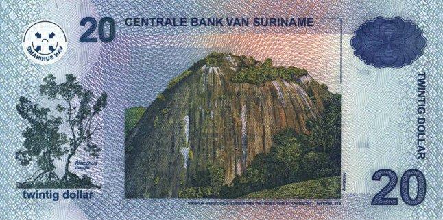 Суринамский доллар. Купюра номиналом в 20 SRD, реверс (обратная сторона).
