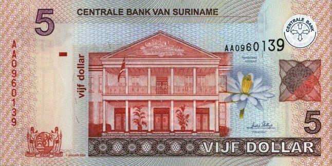Суринамский доллар. Купюра номиналом в 5 SRD, аверс (лицевая сторона).