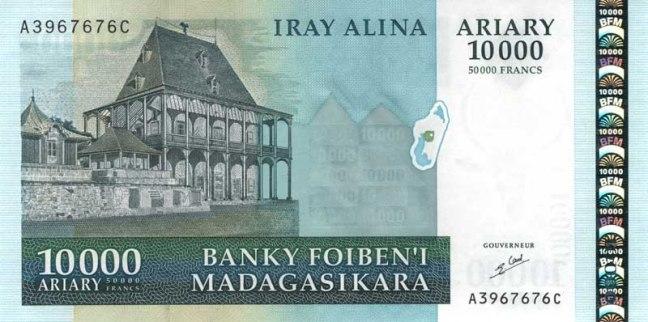 Малагасийский ариари. Купюра номиналом в 10000 MGA, аверс (лицевая сторона).