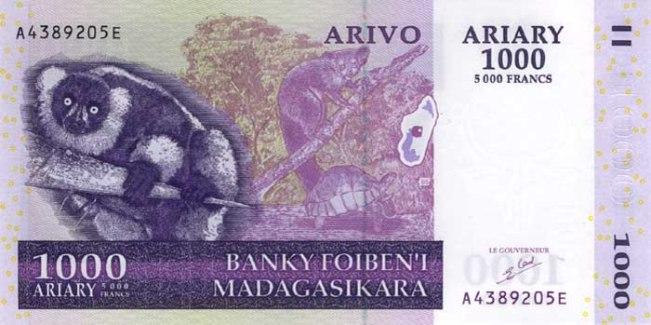 Малагасийский ариари. Купюра номиналом в 1000 MGA, аверс (лицевая сторона).