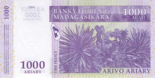 Малагасийский ариари. Купюра номиналом в 1000 MGA, реверс (обратная сторона).