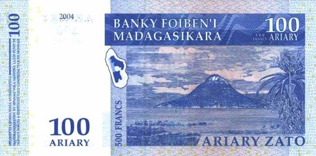 Малагасийский ариари. Купюра номиналом в 100 MGA, реверс (обратная сторона).