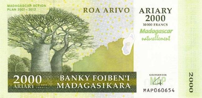 Малагасийский ариари. Купюра номиналом в 2000 MGA, аверс (лицевая сторона).