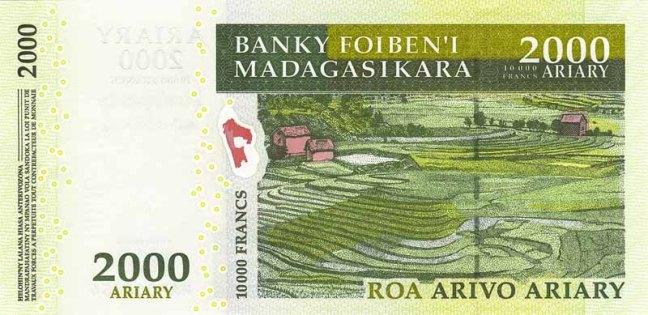 Малагасийский ариари. Купюра номиналом в 2000 MGA, реверс (обратная сторона).
