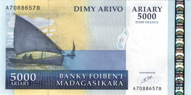 Малагасийский ариари. Купюра номиналом в 5000 MGA, аверс (лицевая сторона).