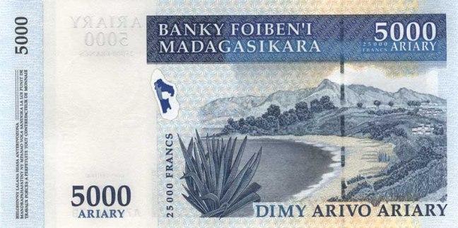 Малагасийский ариари. Купюра номиналом в 5000 MGA, реверс (обратная сторона).