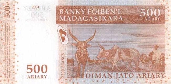 Малагасийский ариари. Купюра номиналом в 500 MGA, реверс (обратная сторона).