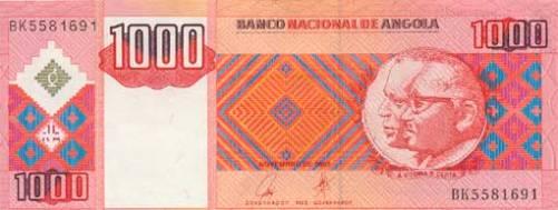 Ангольская кванза. Купюра номиналом в 1000 AOA, аверс (лицевая сторона).