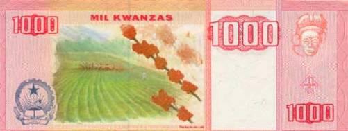 Ангольская кванза. Купюра номиналом в 1000  AOA, реверс (обратная сторона).