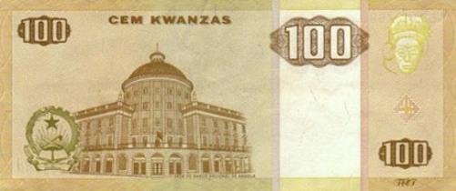 Ангольская кванза. Купюра номиналом в 100 AOA, реверс (обратная сторона).