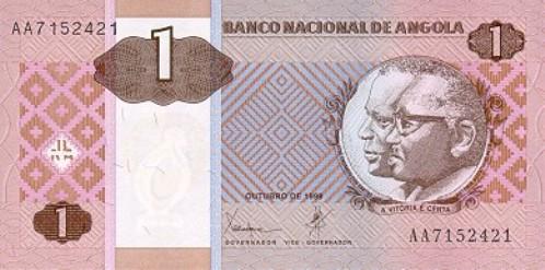 Ангольская кванза. Купюра номиналом в 1 AOA, аверс (лицевая сторона).