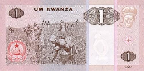 Ангольская кванза. Купюра номиналом в 1 AOA, реверс (обратная сторона).