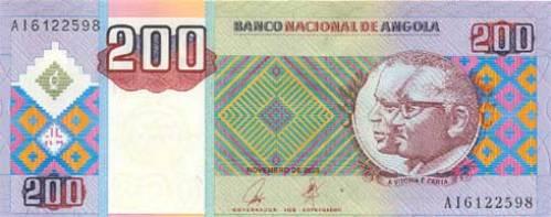 Ангольская кванза. Купюра номиналом в 200 AOA, аверс (лицевая сторона).