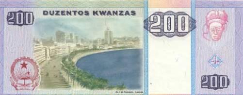 Ангольская кванза. Купюра номиналом в 200 AOA, реверс (обратная сторона).