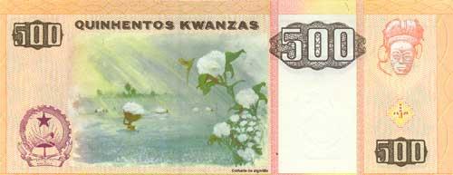 Ангольская кванза. Купюра номиналом в 500 AOA, реверс (обратная сторона).