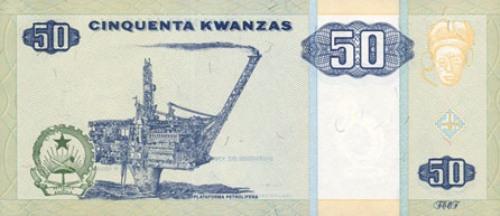 Ангольская кванза. Купюра номиналом в 50 AOA, реверс (обратная сторона).
