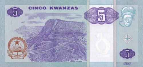 Ангольская кванза. Купюра номиналом в 5 AOA, реверс (обратная сторона).