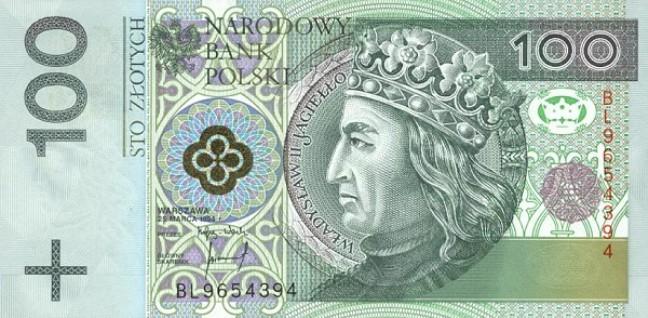 Польский злотый. Купюра номиналом в 100 PLN, аверс (лицевая сторона).