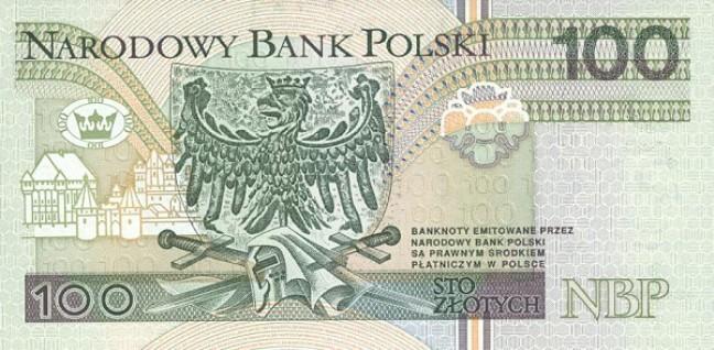 Польский злотый. Купюра номиналом в 100 PLN, реверс (обратная сторона).