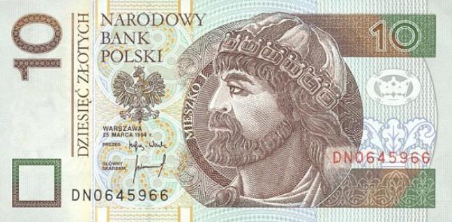 Польский злотый. Купюра номиналом в 10 PLN, аверс (лицевая сторона).