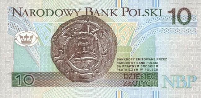 Польский злотый. Купюра номиналом в 10 PLN, реверс (обратная сторона).