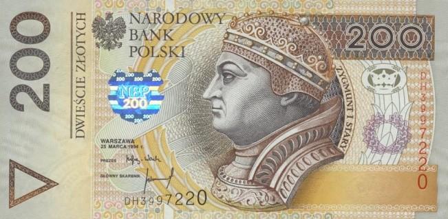 Польский злотый. Купюра номиналом в 200 PLN, аверс (лицевая сторона).