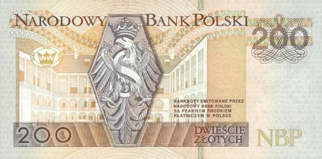 Польский злотый. Купюра номиналом в 200 PLN, реверс (обратная сторона).