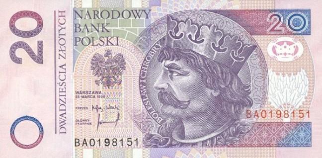 Польский злотый. Купюра номиналом в 20 PLN, аверс (лицевая сторона).