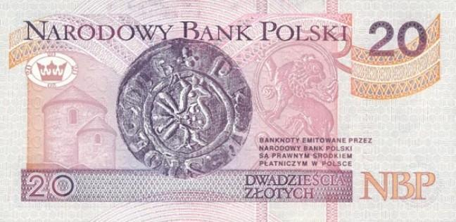 Польский злотый. Купюра номиналом в 20 PLN, реверс (обратная сторона).