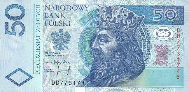Польский злотый. Купюра номиналом в 50 PLN, аверс (лицевая сторона).