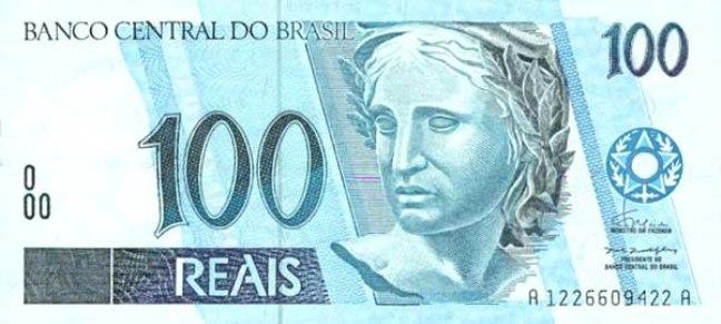Бразильский реал. Купюра номиналом в 100 BRL, аверс (лицевая сторона).
