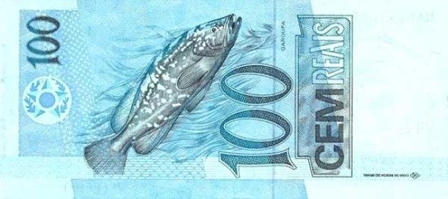 Бразильский реал. Купюра номиналом в 100  BRL, реверс (обратная сторона).