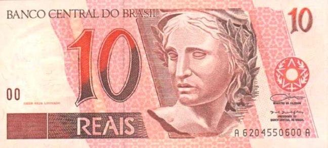 Бразильский реал. Купюра номиналом в 10 BRL, аверс (лицевая сторона).
