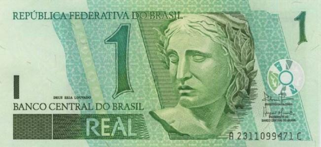 Бразильский реал. Купюра номиналом в 1 BRL, аверс (лицевая сторона).