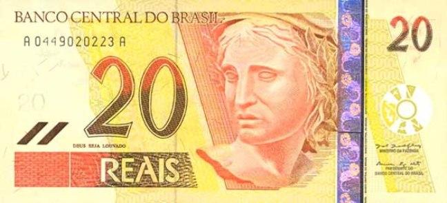 Бразильский реал. Купюра номиналом в 20 BRL, аверс (лицевая сторона).