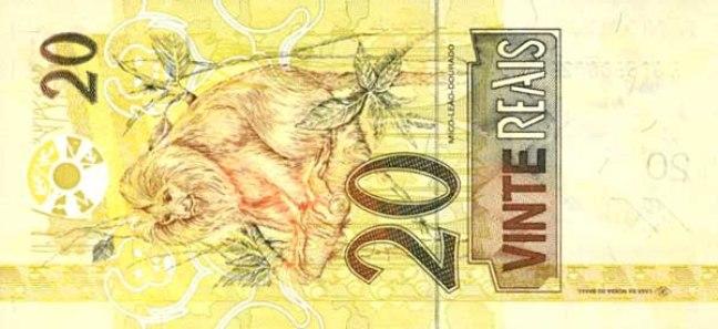 Бразильский реал. Купюра номиналом в 20 BRL, реверс (обратная сторона).