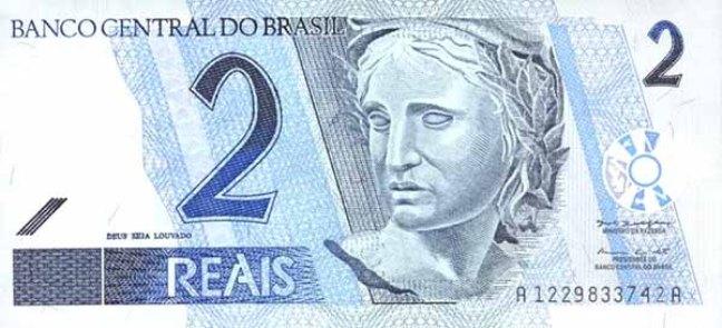 Бразильский реал. Купюра номиналом в 2 BRL, аверс (лицевая сторона).