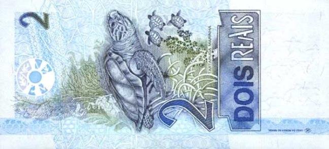Бразильский реал. Купюра номиналом в 2 BRL, реверс (обратная сторона).