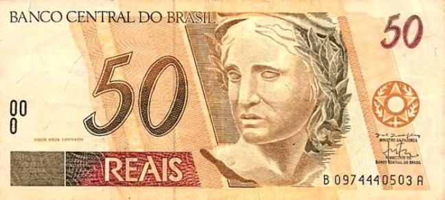 Бразильский реал. Купюра номиналом в 50 BRL, аверс (лицевая сторона).