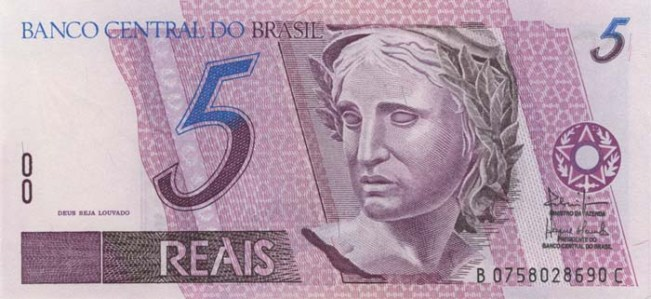 Бразильский реал. Купюра номиналом в 5 BRL, аверс (лицевая сторона).